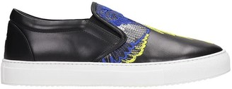 Marcelo Burlon County of Milan Embroideres Sneakers In Black Leather