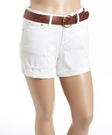 Dollhouse White Belted Denim Shorts - Plus