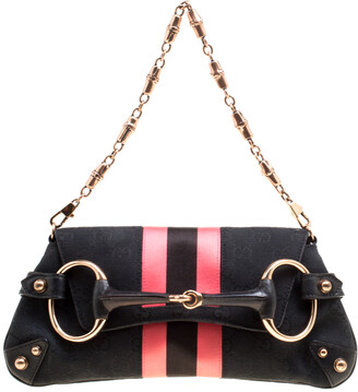 Gucci Black/Pink GG Canvas and Satin Small Limited Edition Tom Ford Horsebit Web Chain Clutch