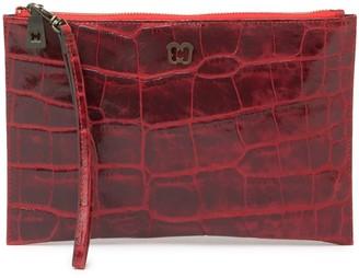 Eric Javits Croc-Embossed Leather Clutch