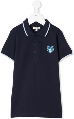 Kenzo Kids Cotton Tiger Patch Polo Shirt