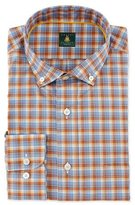 Robert Talbott Mini-Plaid Woven Dress Shirt, Blue/Orange