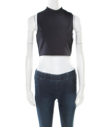 Elizabeth and James Navy Blue Stretch Ponte Knit Avita Crop Top S