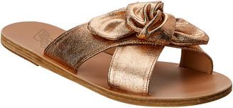 Ancient Greek Sandals Thais Bow Metallic Leather Sandal