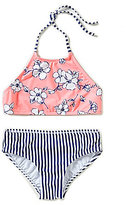 Copper Key Big Girls 7-16 Floral-Print Halter Top & Classic Stripe Bottom Set