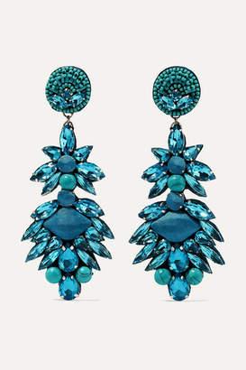 Ranjana Khan Silver-tone, Crystal And Bead Clip Earrings - Turquoise