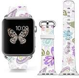 Cisland Iwatch band 38mm leather,girls apple Iwatch sport Genuine leather strap purple colorful personalized beautiful flowers floral art texture