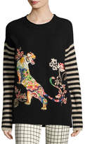 Etro Striped-Sleeve Tiger-Embroidered Wool Sweater, Black