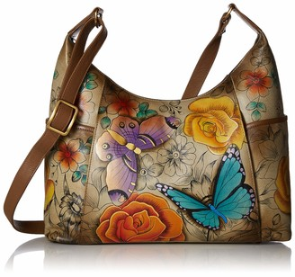 Anuschka Anna by Women's Genuine Leather Large Hobo Handbag | Hand Painted Original Artwork | Zip-Top Organizer | Floral Paradise Tan
