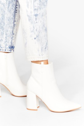 Nasty Gal Womens Block 'Em Out Wide Fit Ankle Boots - White