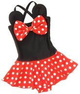 EGELEXY Baby Kid Girl Swimsuits Bathing Polka Dots Bowknot Swimwear Tankini Dress M/3-4T