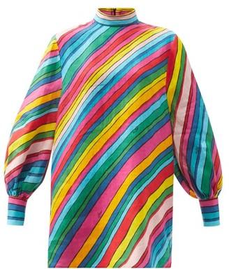 Gucci Rainbow-print Linen Top - Pink Multi