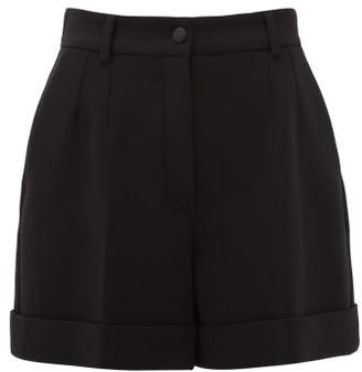 Dolce & Gabbana High-rise Virgin Wool-blend Crepe Shorts - Womens - Black