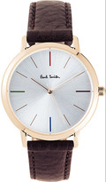Paul Smith P10101 Ma rose-gold and leather watch