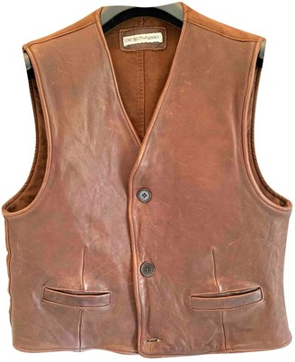 Emporio Armani Brown Leather Leather Jacket for Women Vintage