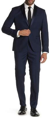 14th & Union Navy Solid One Button Shawl Lapel Extra Trim Fit Tuxedo Suit