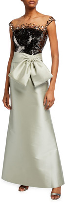Sachin + Babi Aliza Sequin-Bodice Twill Skirt Gown w/ Bow