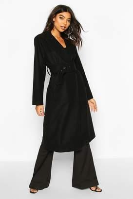 boohoo Tall Self Fabric Belted Longline Wool Coat