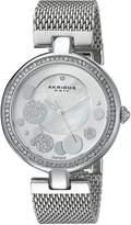 Akribos XXIV Women's AK881SS Round White Mother of Pearl and Silver Dial Three Hand Quartz Bracelet Watch