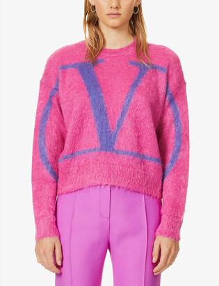 Valentino V-logo intarsia mohair-blend jumper