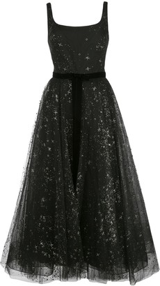 Marchesa star glitter tulle tea length dress