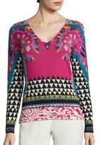 Etro Geo Paisley-Print Silk & Cashmere Sweater