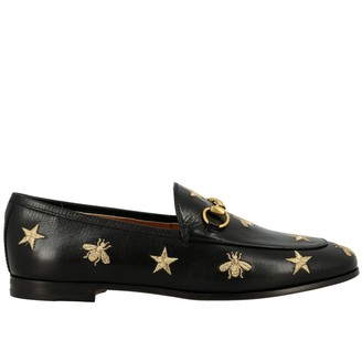 Gucci Jordan Loafer In Smooth Leather With Metal Clamp And Star / Bee Embroidery