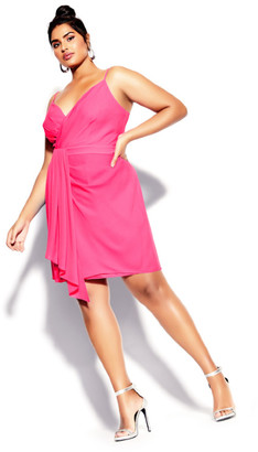 City Chic Delectable Dress - neon pink