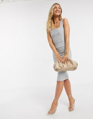 Vesper square neck midi pencil dress in silver