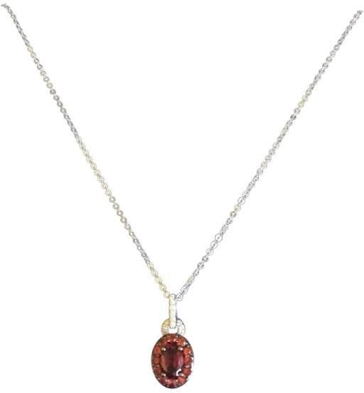 Damiani Bliss by 18K White Gold Red Garden Diamond Garnet Necklace