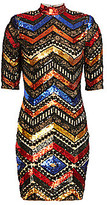 Alice + Olivia Women's Inka Chevron Sequin Sheath Dress