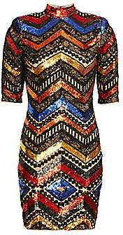 Alice + Olivia Women's Inka Chevron Sequin Sheath Dress