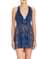 Betsey Johnson Ruffled Lace-Up Lace Lingerie