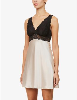 Morgan floral lace-trimmed silk night dress