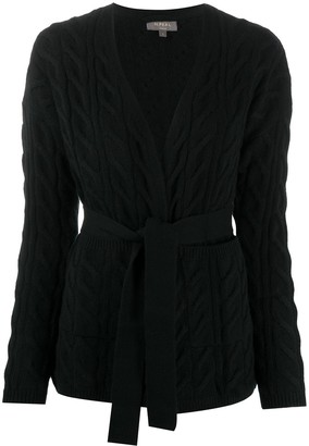 N.Peal Cable Knit Tie Belted Cashmere Cardigan