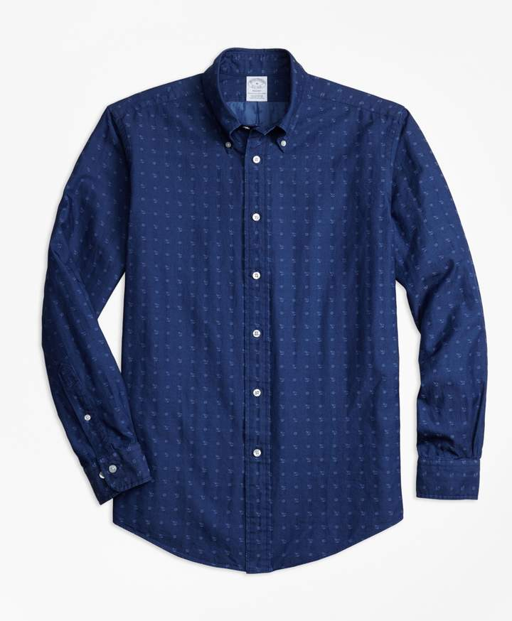 Brooks Brothers Regent Fit Indigo Nautical Clip Sport Shirt`