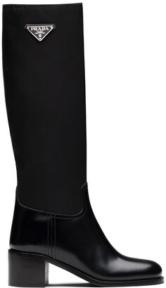 Prada Triangle-Logo Calf-Length Boots
