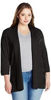 Leo & Nicole Women's Plus-Size 3/4 Sleeve Solid Cardigan with Texture Sweater