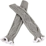 WINSON New Lace Arm Warmer Half Long Gloves Fingerless Knitted Arm Cuff Women Winter