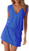 DELEY Women Deep V-Neck Swim Beach Dress Open-back Beach Cover Up Skirt