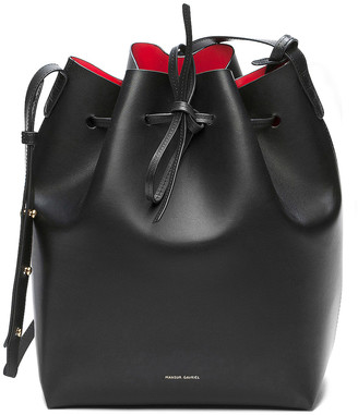 Mansur Gavriel Coated Large Bucket Bag in Black & Flamma | FWRD