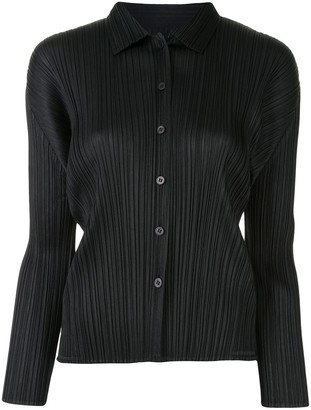 Pleats Please Issey Miyake Pleated Longsleeved Shirt