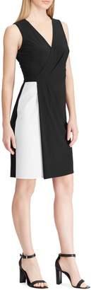 Chaps Two-Tone Jersey Faux Wrap Dress