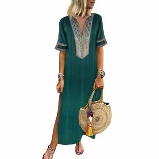 Hertsen Women Cotton Ethnic Loose Floral Print Casual Short Sleeve Plus Size Long Maxi Dress (Green 2XL/16)
