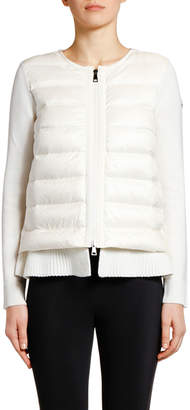 Moncler Double-Layer Knit & Puffer Cardigan