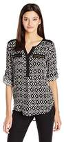 My Michelle Women's Printed Equipment Top with Front Zipper Pockets and Roll Tab Sleeves