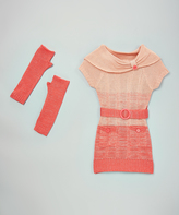 Dollhouse Coral Sash Sweater Dress & Arm Warmers - Toddler & Girls