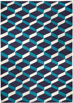 Jonathan Adler Blue Lorenzo Reversible Peruvian Flat Weave Rug