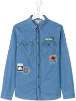 Kenzo logo patch denim shirt - kids - Cotton - 14 yrs