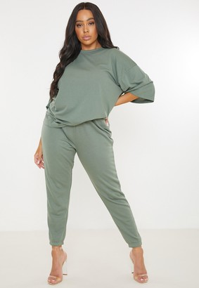 Missguided Plus Size Green T Shirt And Joggers Co Ord Set